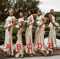 Plus Size African Champagne 2019 Mermaid Bridesmaid Dresses ...