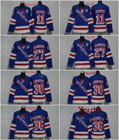 Homens Mulheres Juventude Kids New York Rangers 27 Ryan McDonagh 11 Mark Messier 30 Henrik Lundqvist 36 Mats Zuccarello Blank Blue Jerseys All Stiched
