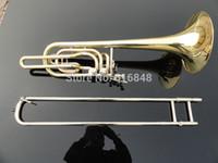 Kann Customized Logo Hohe Qualität Messing Posaune Goldlack Spielen Musikinstrument Doppelkolben Bb Einstellbare Tenorposaune