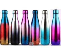 500 ml 17 oz Cola Botella de agua en forma Botella de agua de viaje con aislamiento de vacío Doble pared de acero inoxidable Cola cola Botella de forma deportiva