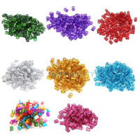 100 piezas 50 piezas / lote # Rosa #Red #Blue #Golden # Silver Mixed Dreadlock Beads Trenzas para el cabello ajustable Cuff Clip 8MM Hole Micro Ring Beads