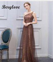 BeryLove Beautiful Mermaid Maroon Sequin Evening Dresses 2018 Long One  Shoulder Evening Dress Plus Women Formal Evening Gowns a524339b89db