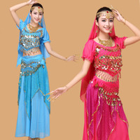 9pcs Tribal Belly Dance Costume set Indian Dance Shiny Bells dancing costume for show
