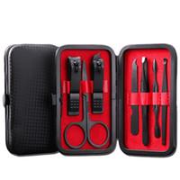 Set di strumenti per manicure per unghie 7 in 1 Kit per tagliaunghie per unghie in acciaio inossidabile nero professionale Set di strumenti per pedicure per unghie