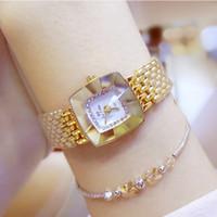 Moda Ocio beesister vender como pan caliente Exclusivo Diamante cuadrado Joyería Espejo de cristal Decoraciones pulsera puntero Reloj de cuarzo