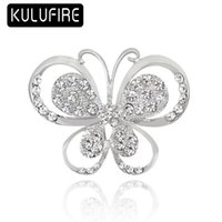 Cute Carton white Butterfly Brooch Pin Red Rhinestone Brooch...