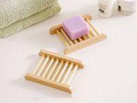 Doğal Bambu Tepsiler Toptan Ahşap Sabun Çanak Tepsi Tutucu Raf Plaka Kutusu Konteyner Banyo Duş Banyo Epacket Için