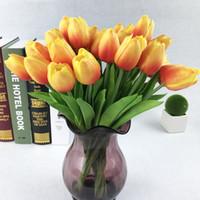 PU Faux Artificielle Bouquet De Fleurs Real Touch Soie Tulip Fleurs pour La Fête De Mariage Décoration de La Maison Fleur