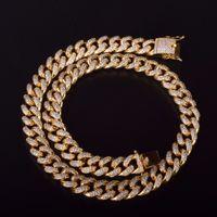 12mm Glacé Zircon Cubain Collier chaîne Hip Hop Bijoux Or Argent Cuivre Matière CZ Fermoir Collier Mens lien 18-28inch