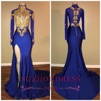 2018 African Arabic Gold Appliques Sexy Prom Dresses Mermaid...