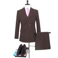 Costume de mariage croisé tuxed Groom brun costume Harringbone Blazer pour Costume Groomsman Costume Custom Made Man Suit (veste + pantalon + gilet)