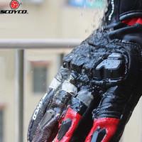 Touch Phones Men's Scoyco MC17B Motorfiets Warme Handschoenen Lederen Motor Racing Vrouwelijke Moto Waterdichte Winddichte Handschoen Zwart Rood Blauw