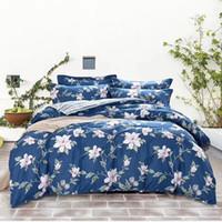 ropa de cama de tela de algodón establece cuatro piezas por juego de cama cubierta de sábanas de la cama y dos diseños de flores funda de almohada de color mutua Yang Ming 201899