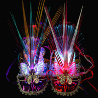 6 Colors LED Halloween Party Masks Flash Glowing Feather Mas...