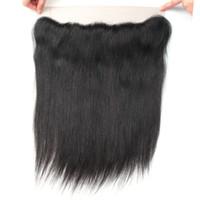 10A cheveux raides Dentelle Frontal gratuit Partie 13 * 2.5 Remy Human Hair Oreille à l'oreille Dentelle Frontal Brésilien Péruvien Indien Malais Cheveux 8-20inch