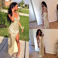 Black Girls Gold Sequins Long Mermaid Prom Dresses 2018 Sexy...