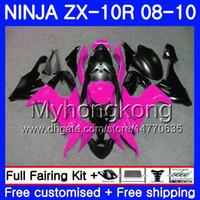 KAWASAKI 로즈 블랙 핑크 ZX (10) R의 ZX1000C의 ZX10R 08 10 217HM.13 ZX 10R 08 09 10 ZX1000의 ZX10R 2008 년 2009 년 2010 페어링 키트 차체