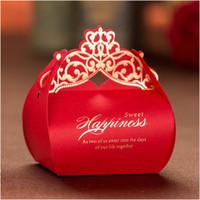 Boîtes de luxe pour le mariage 2017 Laser coupé or rouge Boîtes de bonbons de cadeaux