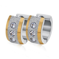 다이아몬드 귀걸이 스테인리스 작은 원형 스크럽 귀걸이 포장 된 반짝이 지 르 콘 펑크 락 고리 귀걸이 여성 또는 남성을위한