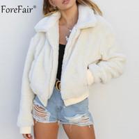 Forefair Polar Ceket Kadın Sonbahar Uzun Kollu Crop Top Faux Kürk Ceket Kadın Casual Bombacı Ceket Kış Bayanlar Coat L18100904