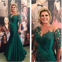 2019 grön spets applique satin sjöjungfrun brudens klänningar sheer 3/4 ärmar pläter lång mamma brudgum modern formell klänning