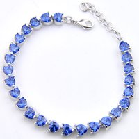 Luckyshine Elegancki w kształcie serca Blue Topaz Gemstone Plated Silver Bransoletki Bransoletki Kobiety Akcesoria Mody CZ Cyrkon Bransoletki Bransoletki