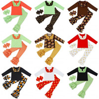 Enfants Halloween Vêtements de Noël Ensemble Top à manches longues + Pantalon à volants + Bowknot Bandeau de vêtement Set Enfants Designer Vêtements Girls