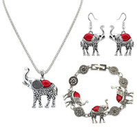 1 Set Euramerican necklace earring bracelet suit elephant pe...