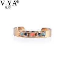 whole saleV. YA Gold Color Boho Bangles for Woman Female Fri...