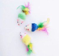 Colorful Feather Grit Small Mouse Cat Toy For Cat Feather Fu...