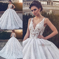 Elegant A- Line Wedding Dresses V Neck Off Spaghetti Lace Up ...