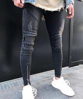 남성의 스키니 청바지 캐주얼 슬림 바이커 청바지 데님 무릎 구멍 힙합 찢어진 바지 씻어 높은 품질 무료 배송