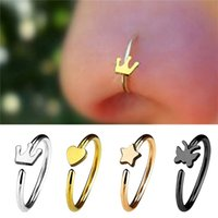 4pcs set Fashion Medical Hoop Nose Rings Clip on Nose Ring B...