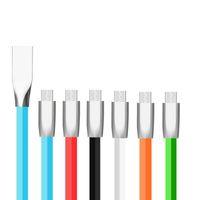2A Cables Micro USB de carga rápida 1M 3FT Tipo C Cable de cargador de teléfono Cable de carga de aleación de zinc para Samsung Nota 8 LG HTC Smartphones Android