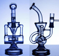 les conduites d'eau de double-recycleur klein vapeur de recyclage tuyau d'eau de verre plate-forme pétrolière impulsion plate-forme pétrolière dab bio bong hookahs de verre