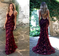 Burgundy Sequins Evening Party Dresses Modest Spaghetti Shiny Lace Applique Mermaid Criss Cross Prom Gown Cheap in Stock