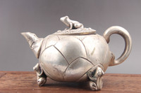 Chinese hand carved exquisite teapot Cupronickel frog as514