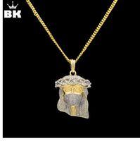 New Hip Hop color oro mascherato Gesù faccia ciondolo collana di cristallo gioielli Gesù pezzo con catena 24 '' 27,5 '' gratuita