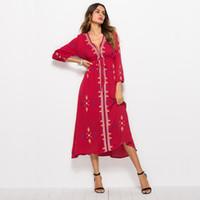 Verão novo estilo de desgaste das mulheres, tailândia estilo nacional vestido bordado, gola V, slim férias vestido DY8050