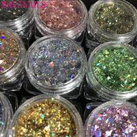 12jar / set Laser Regenbogen Nail art Glitters Pailletten Blatt Pulver Diamant Holo Flake Bunte Glitter | Holographische Nagelflocken