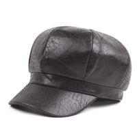 Sombrero de mujer otoño e invierno hacer viejos sombreros de vendedor de  periódicos gorra de cuero caliente sombrero femenino artístico joven casquillo  de ... c2bd0d80848