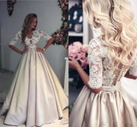 2018 Beach Wedding Gowns Ivory and Champagne V Neck Sheer 3 ...