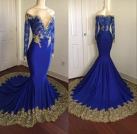 2018 Royal Blue Mermaid maniche lunghe Prom Party Dresses Sheer Lace Oro Appliques Beading Zipper Abito da sera formale Abito da sera