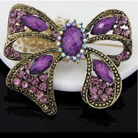 New Women' s Vintage Bronze Resin Rhinestone Alloy Bow B...