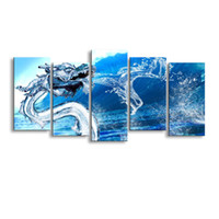 5 pieces of high- definition print Water dragon canvas prints...
