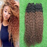2 Paquetes brasileños de la armadura del pelo recto Paquetes del pelo humano de Ombre dos tonos 1b 8 que tejen el pelo no Remy 200G 2PCS Rizado rizado