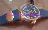 ساعة فاخرة 43 ملليمتر الأزرق المطاط حزام 266673 رومين الطلب روز الذهب الصلب الحافة التلقائي رجل الساعات الكلاسيكية المعصم صور حقيقية