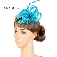 17 colores sinamay glamour accesorios de material de pelo fascinator del sombrero T-plataforma traje casco del partido de la temporada para todos MYQ018
