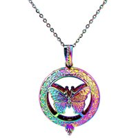 C830 Rainbow Color Magnet Big Butterfly Perles Rondes Cage Pendentif Huile Essentielle Diffuseur Aromatherapy Perle Cage Collier
