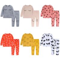 2018 Nuevo Bebé Pijamas Traje Primavera Otoño Manga Larga Top + Pant 2 Unids Lana de Algodón Lycra Lijador Pijama Niños Niñas Niños Ropa para el hogar